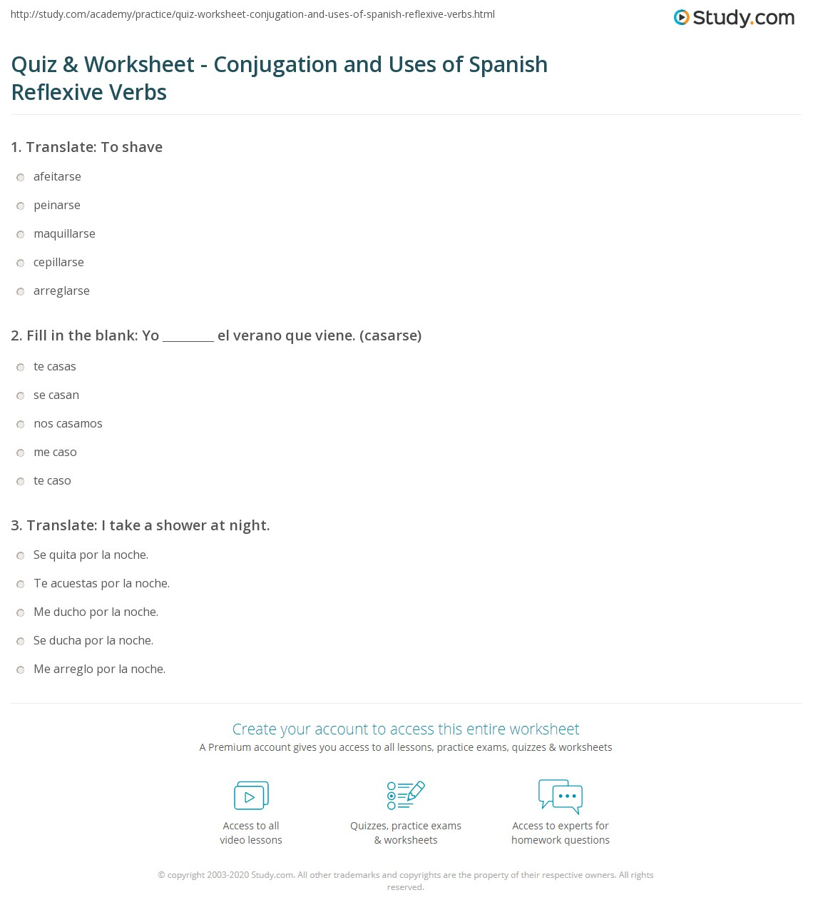 quiz worksheet conjugation and uses of spanish reflexive verbs. Black Bedroom Furniture Sets. Home Design Ideas