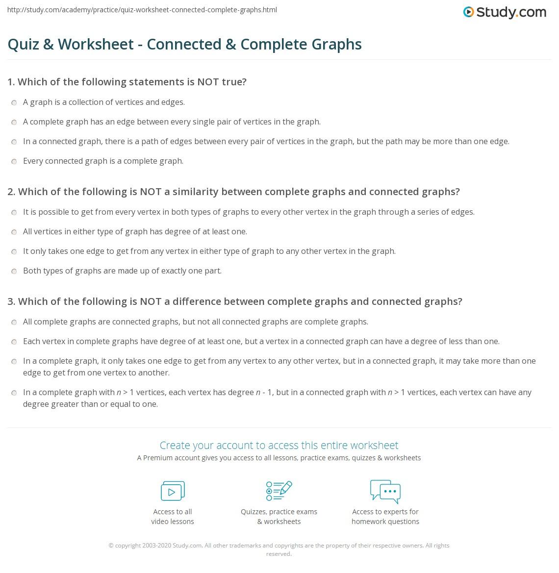 worksheet Vertex Edge Graph Worksheet quiz worksheet connected complete graphs study com print graph vs worksheet
