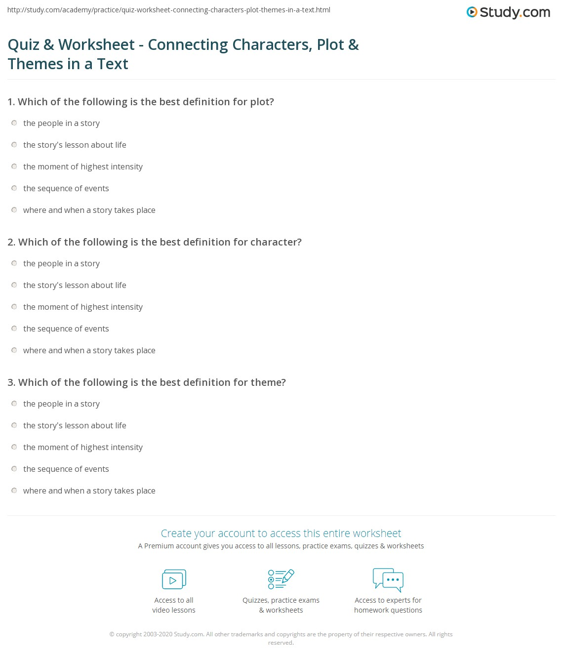 Workbooks plot and theme worksheets : Quiz & Worksheet - Connecting Characters, Plot & Themes in a Text ...