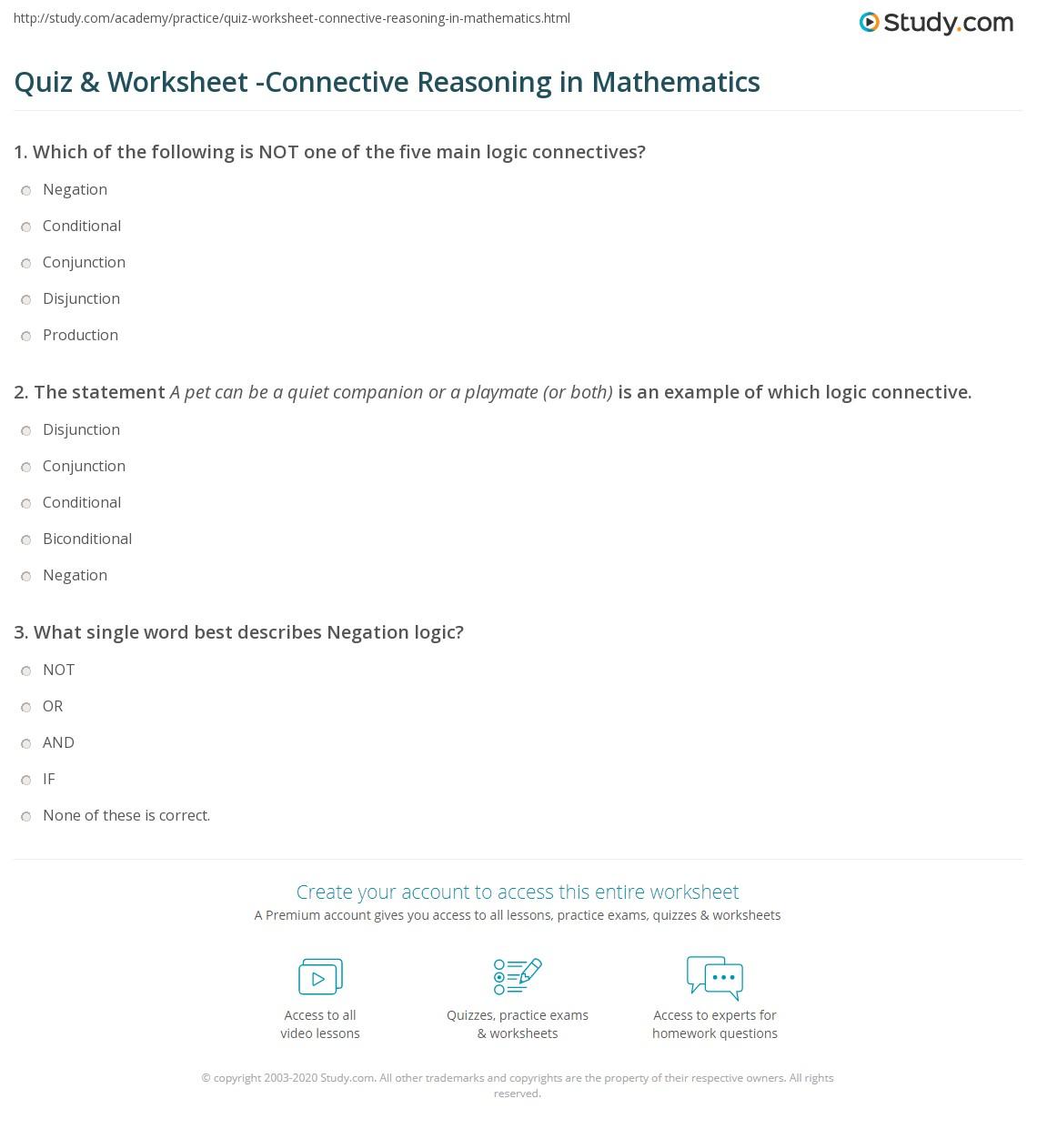 Quiz & Worksheet -Connective Reasoning in Mathematics | Study.com