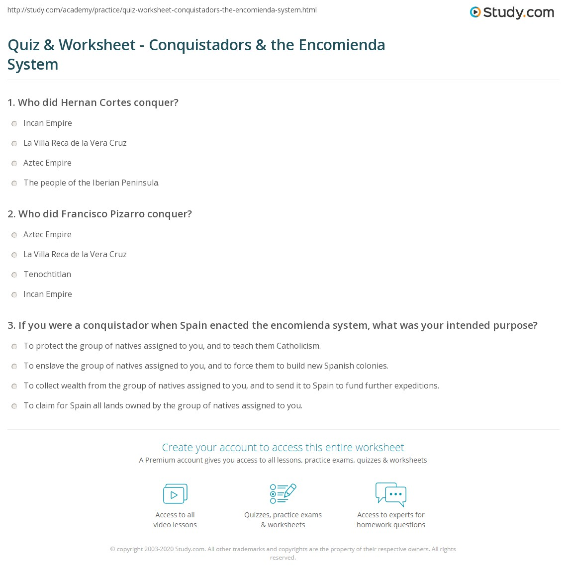 quiz worksheet conquistadors the encomienda system study com