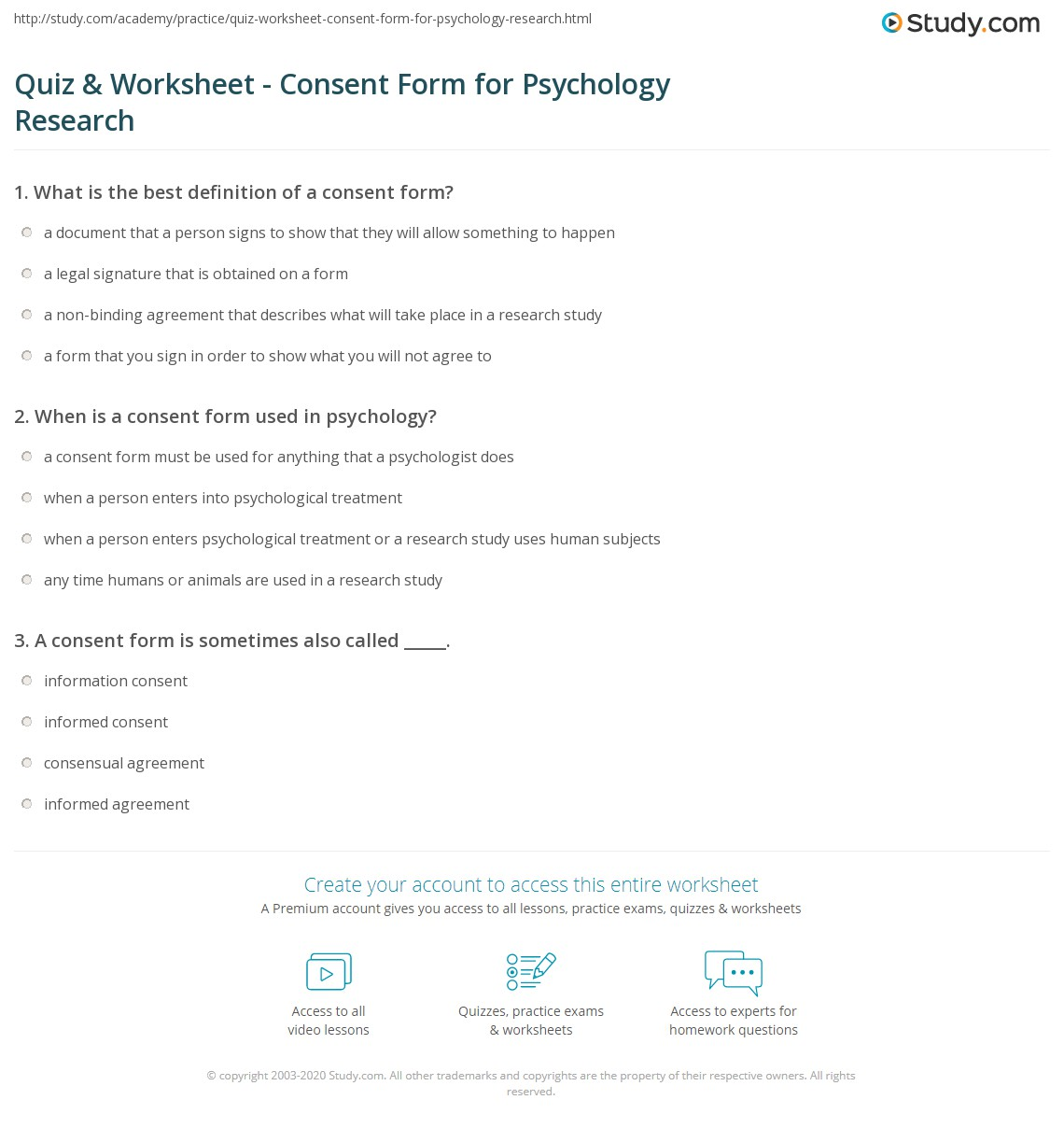Quiz Worksheet Consent Form for Psychology Research – Consent Form