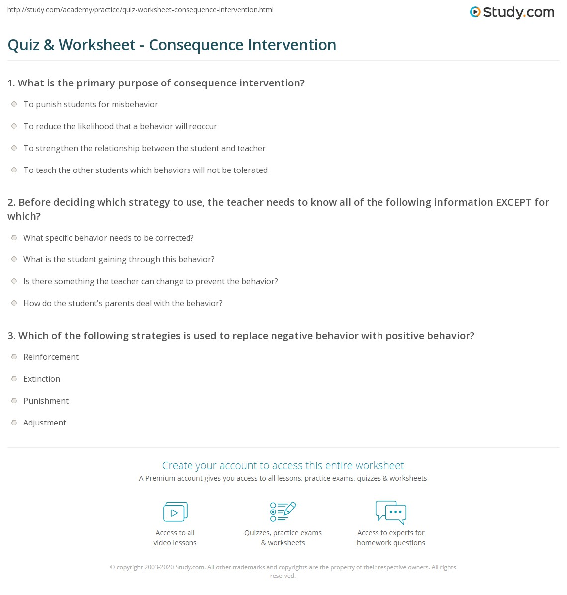quiz & worksheet - consequence intervention | study