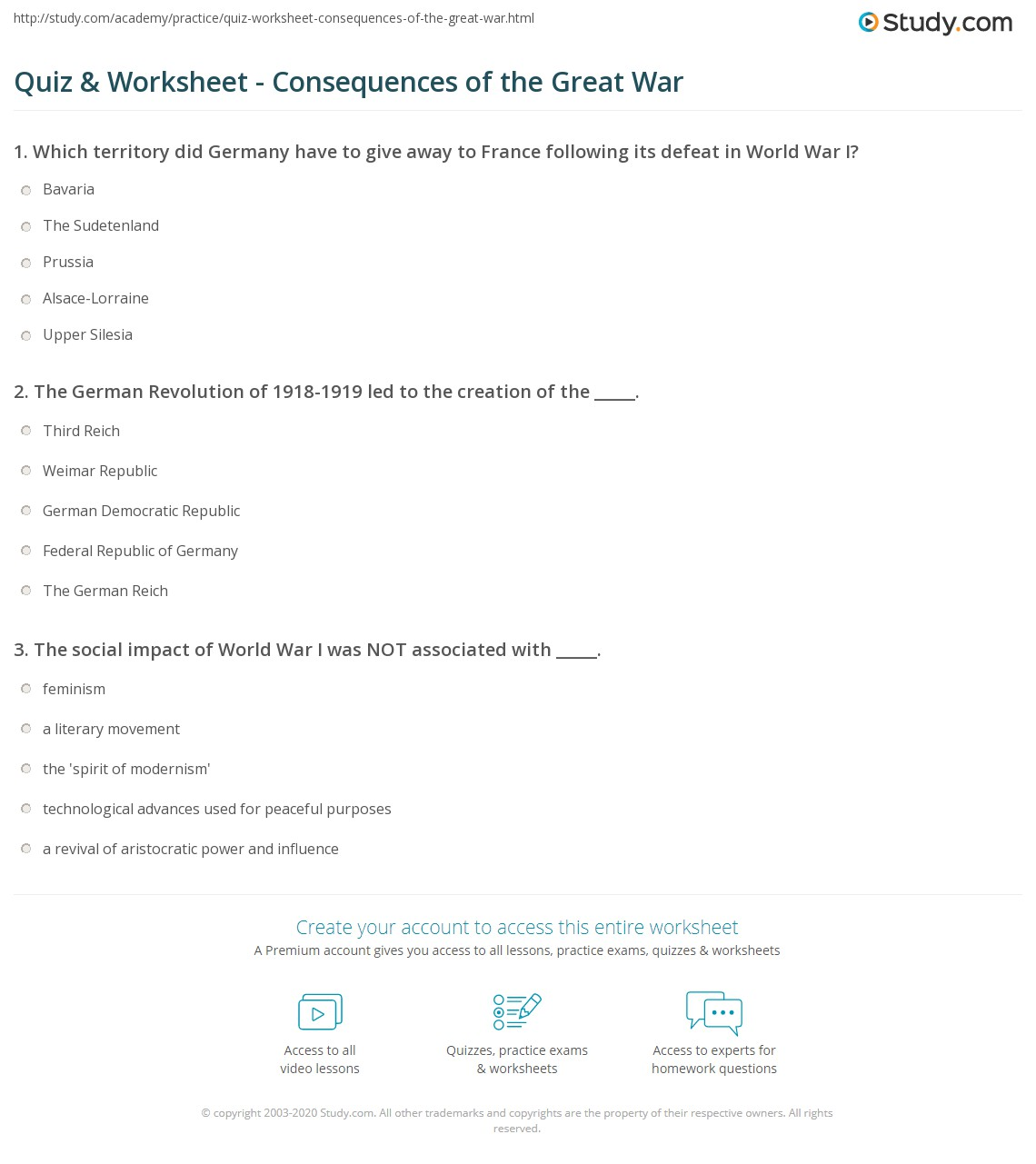 quiz worksheet consequences of the great war. Black Bedroom Furniture Sets. Home Design Ideas