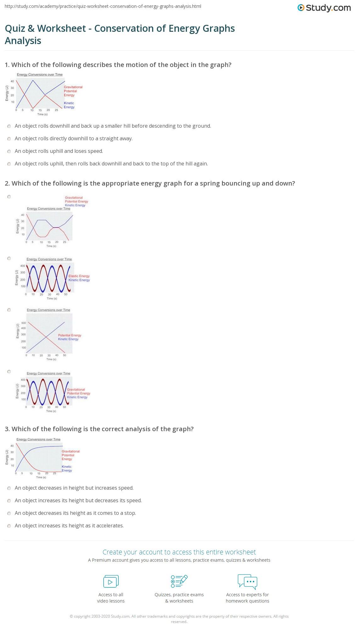 Quiz & Worksheet - Conservation of Energy Graphs Analysis | Study.com