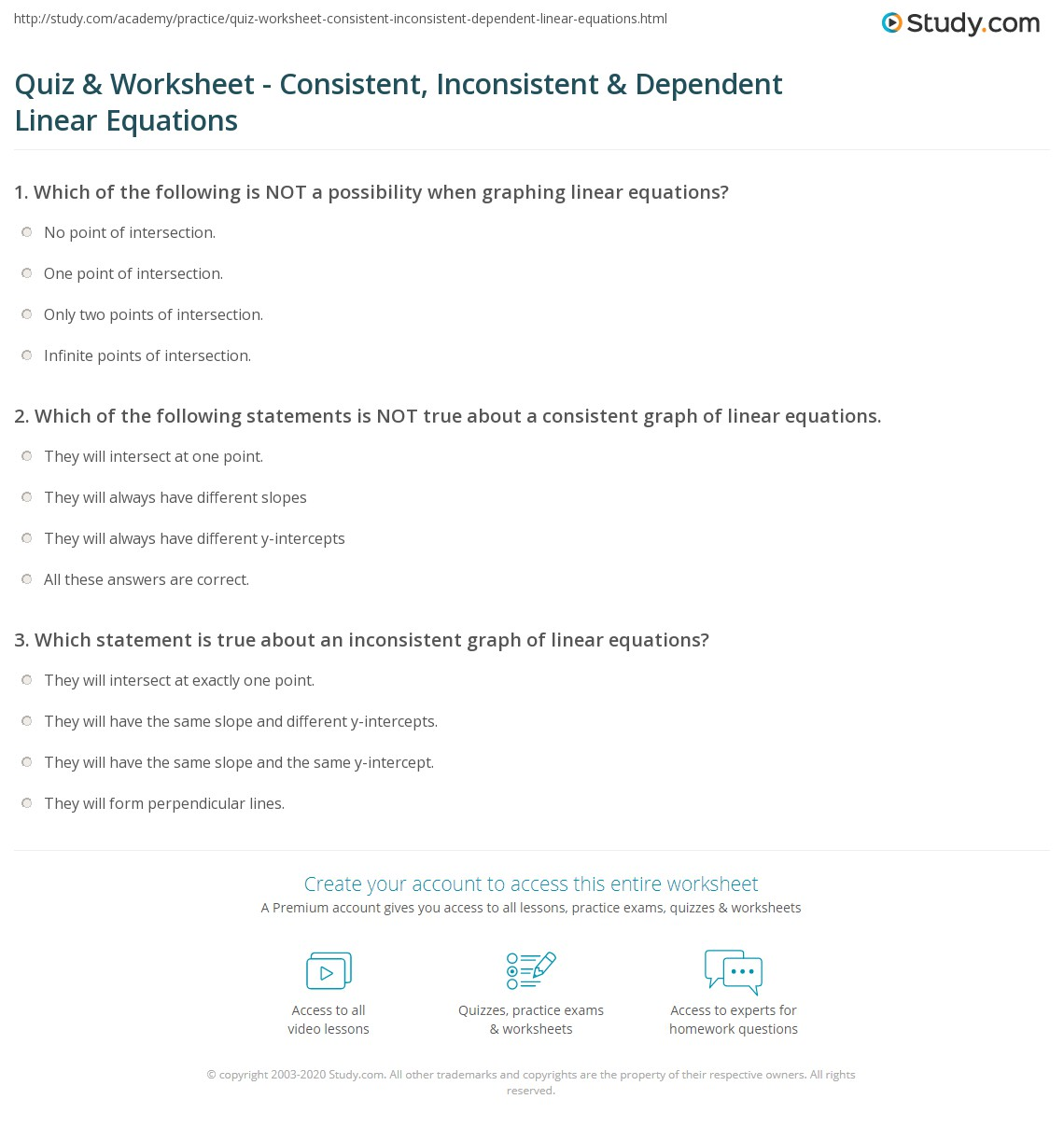 Quiz Worksheet Consistent Inconsistent Dependent Linear