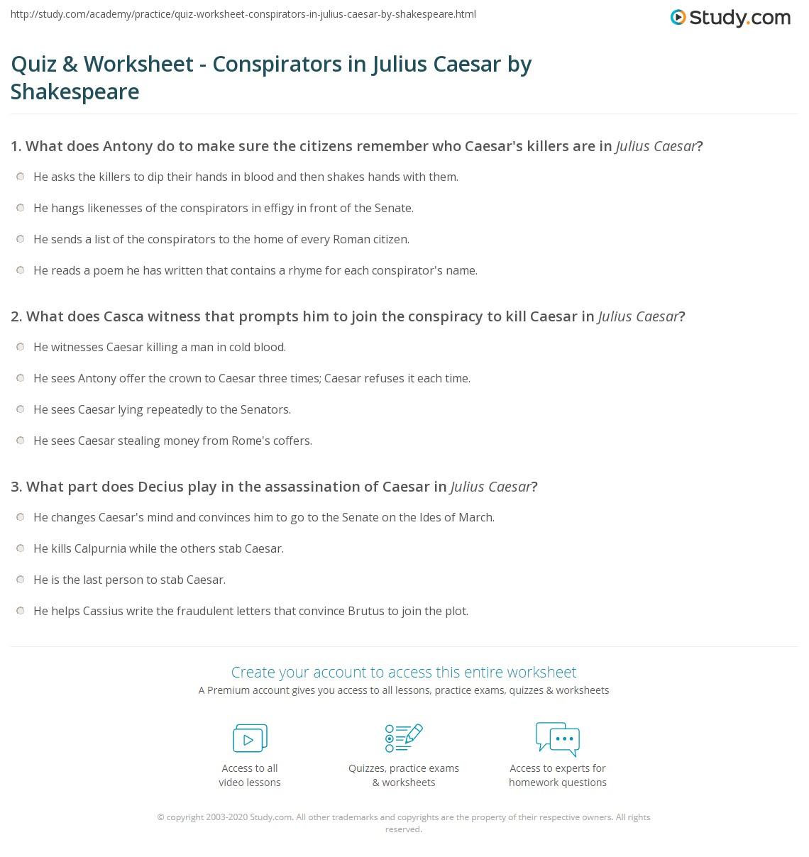 Quiz Worksheet Conspirators In Julius Caesar By Shakespeare