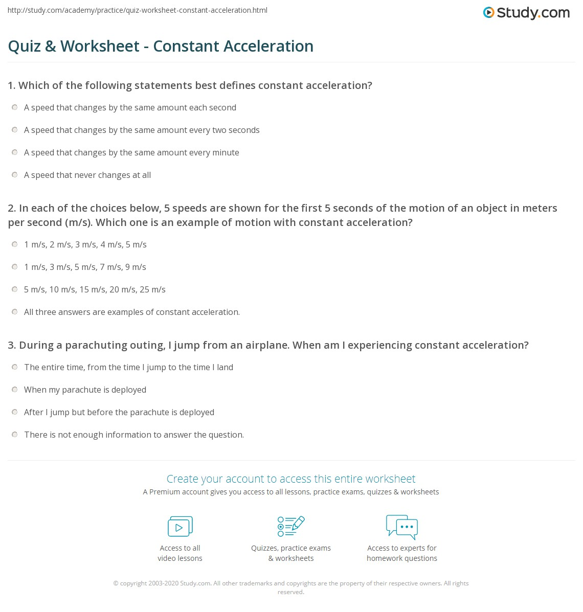Quiz Worksheet Constant Acceleration – Speed and Acceleration Worksheet