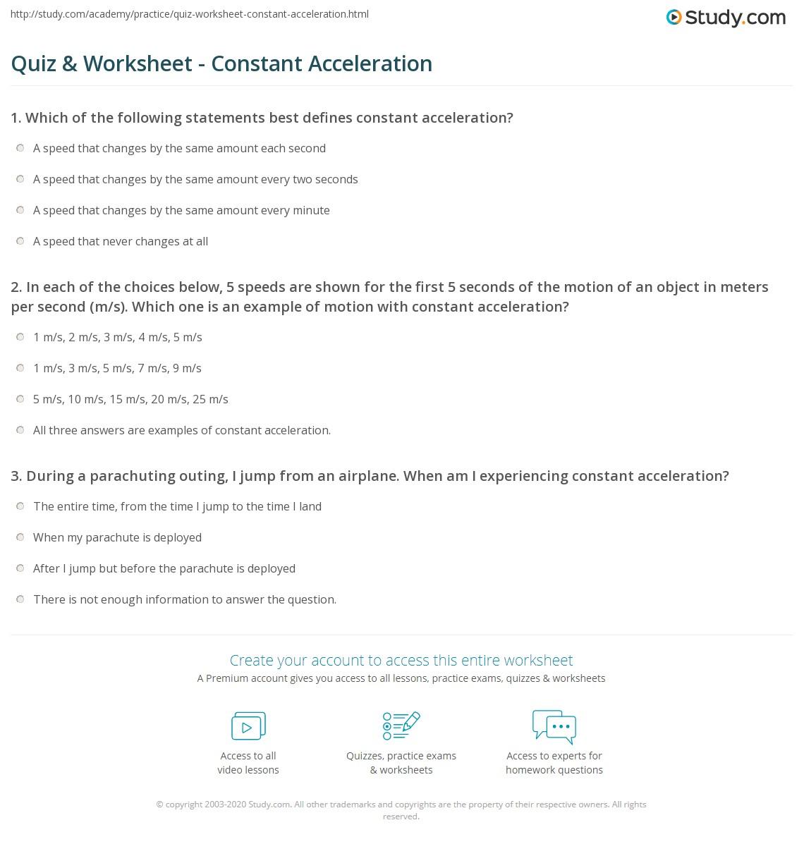 Quiz & Worksheet - Constant Acceleration | Study.com