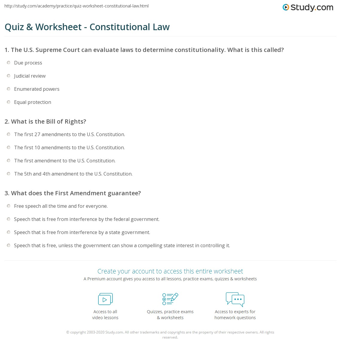 quiz worksheet constitutional law. Black Bedroom Furniture Sets. Home Design Ideas
