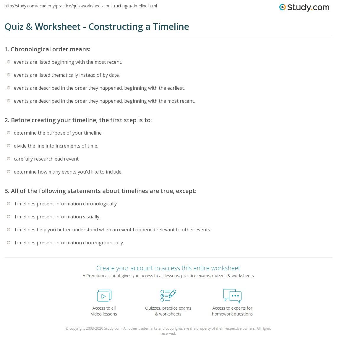 Worksheets Timeline Worksheet quiz worksheet constructing a timeline study com print how to make worksheet