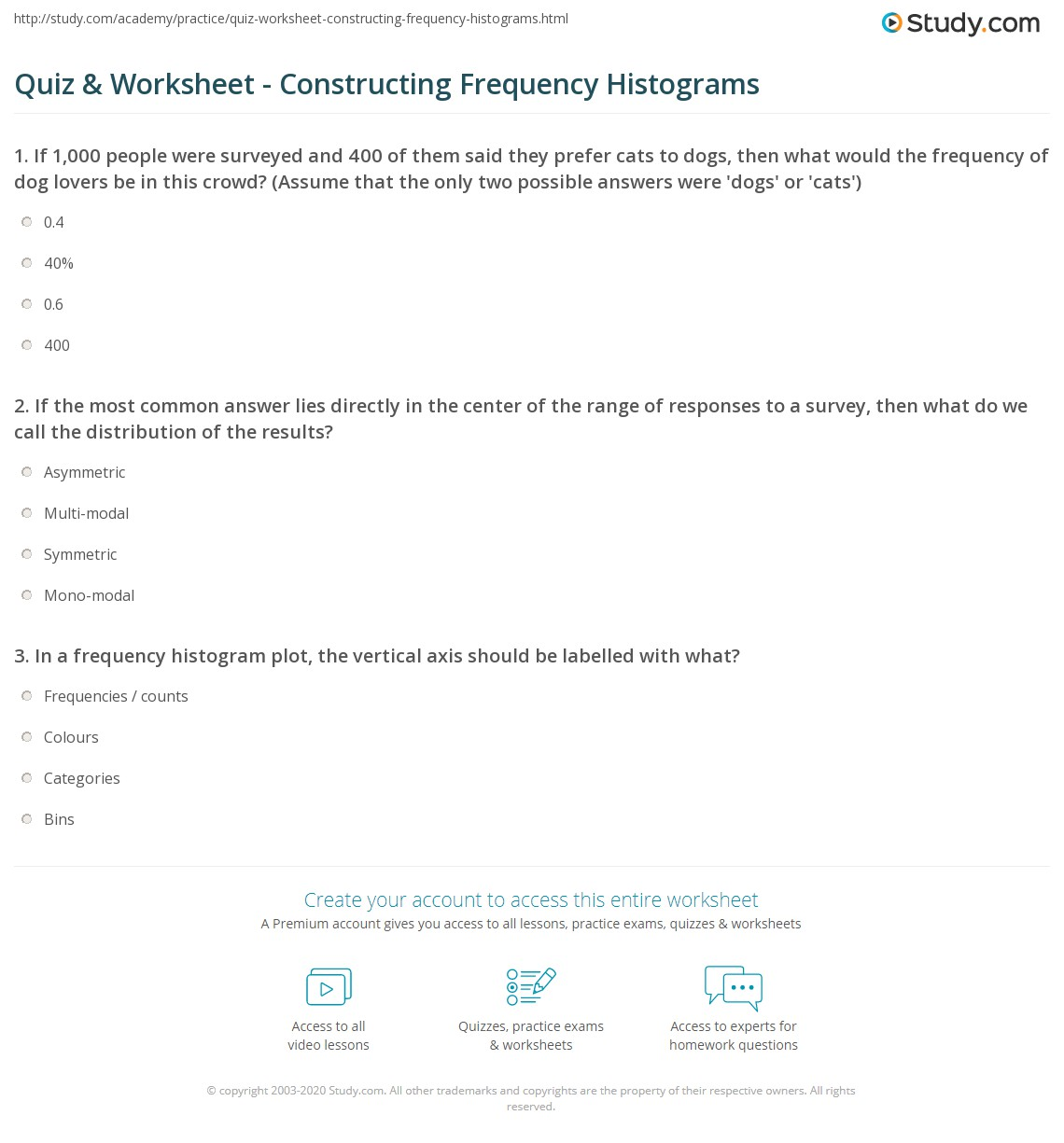 Quiz & Worksheet - Constructing Frequency Histograms | Study.com