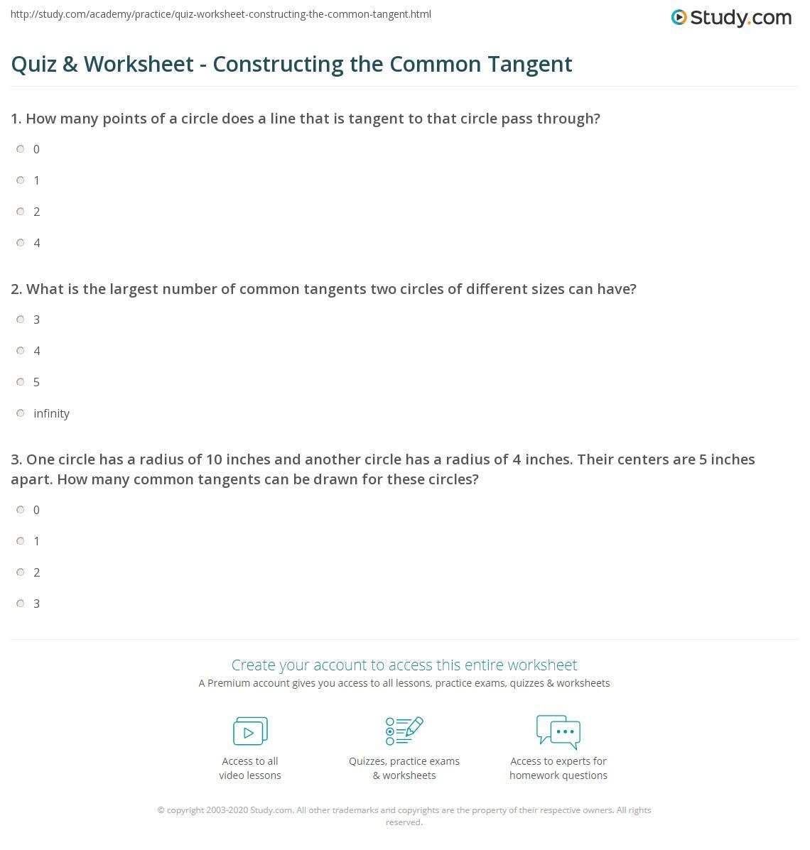 Quiz worksheet constructing the common tangent study print common tangent definition construction worksheet nvjuhfo Choice Image
