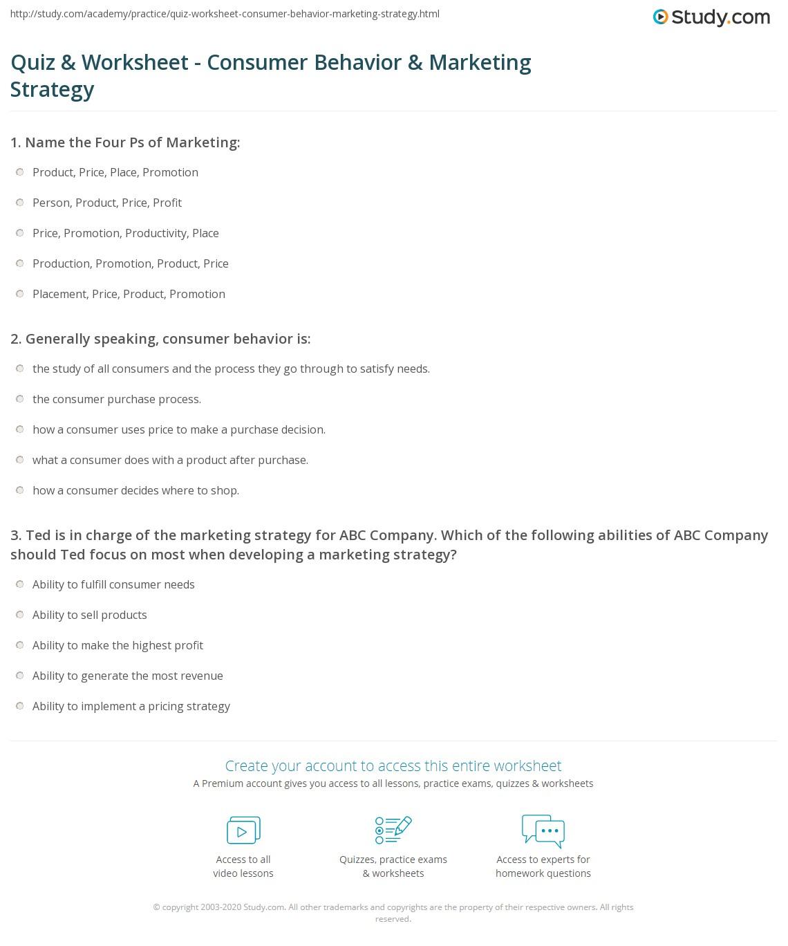 Quiz & Worksheet - Consumer Behavior & Marketing Strategy | Study.com
