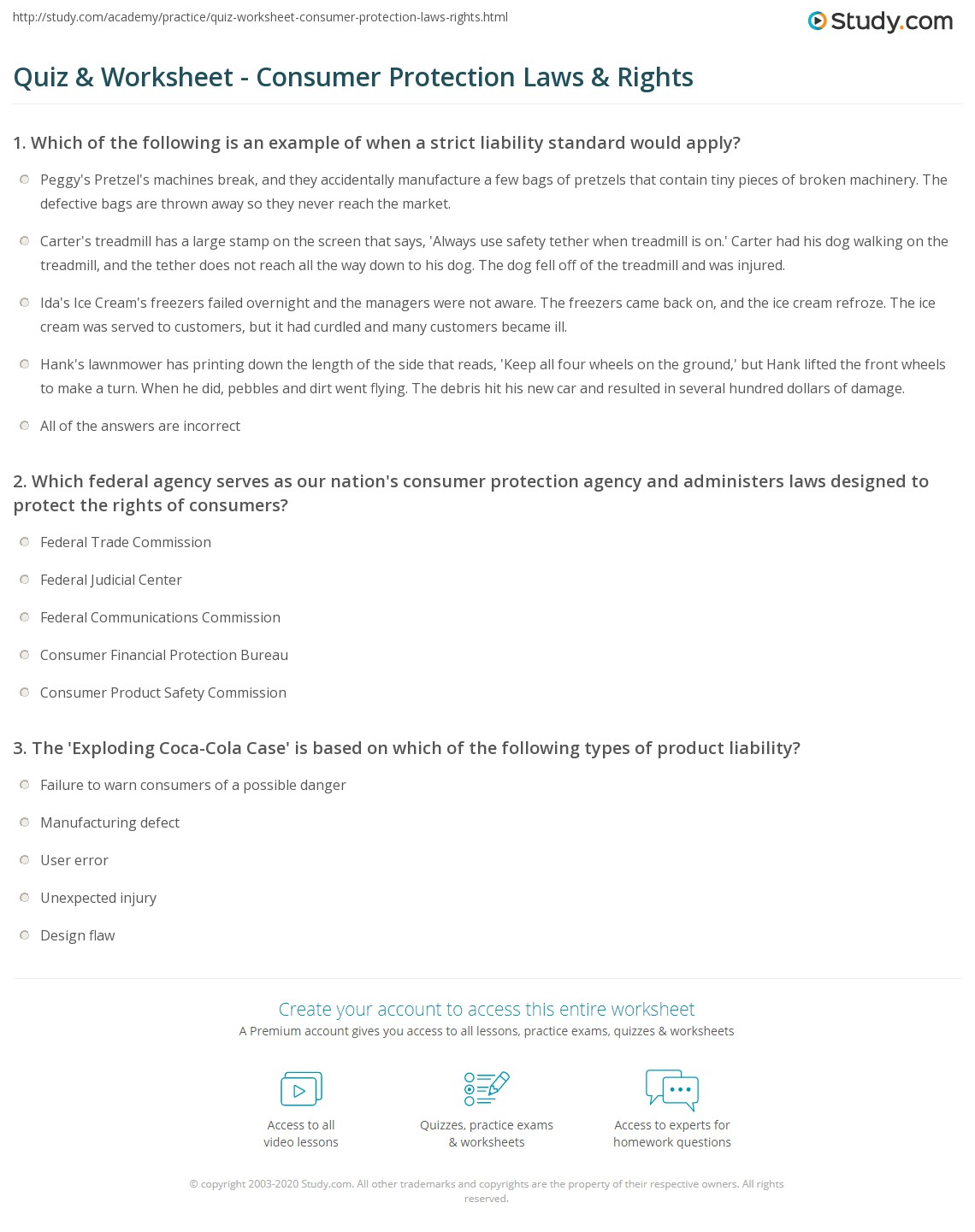 Quiz & Worksheet - Consumer Protection Laws & Rights   Study.com