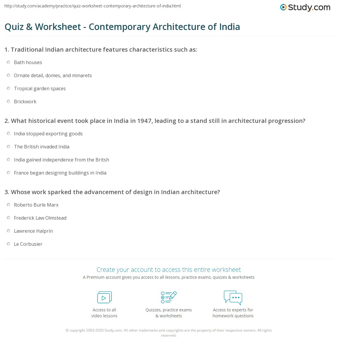 Quiz & Worksheet - Contemporary Architecture of India | Study.com