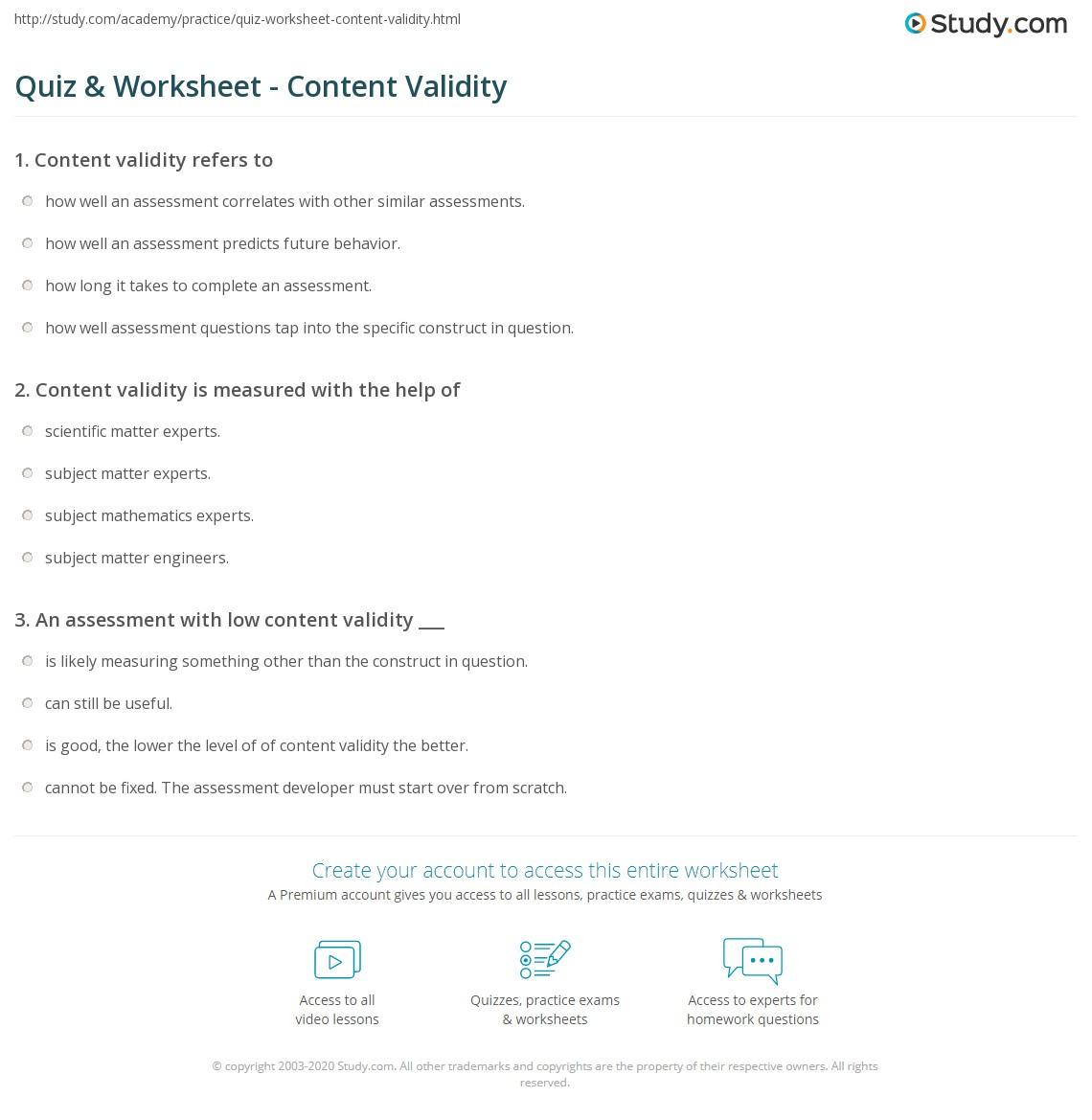 Quiz worksheet content validity study print content validity definition index examples worksheet yelopaper Gallery