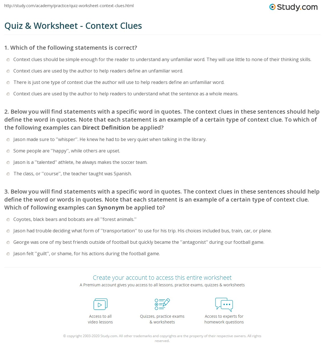 Free Worksheet Context Clues Worksheets 3rd Grade quiz worksheet context clues study com 1 below you will find statements with a specific word in quotes the these sentences should help define note that each statem