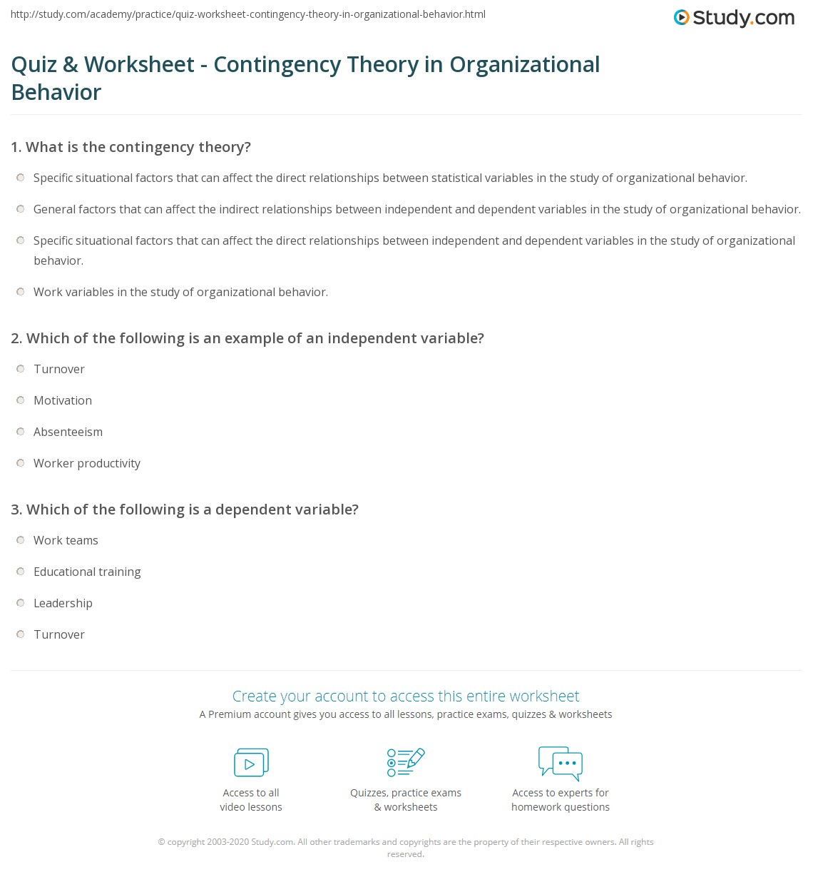 contingency theory examples