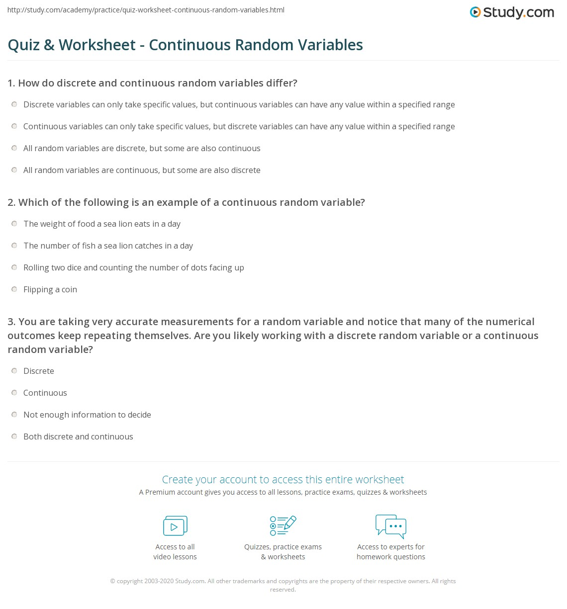 Quiz Worksheet Continuous Random Variables Study