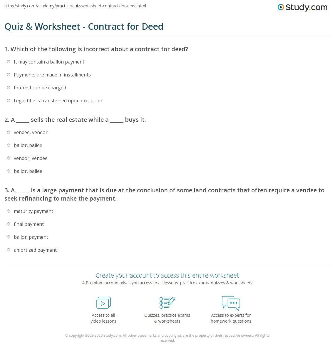 Quiz Worksheet Contract For Deed Study