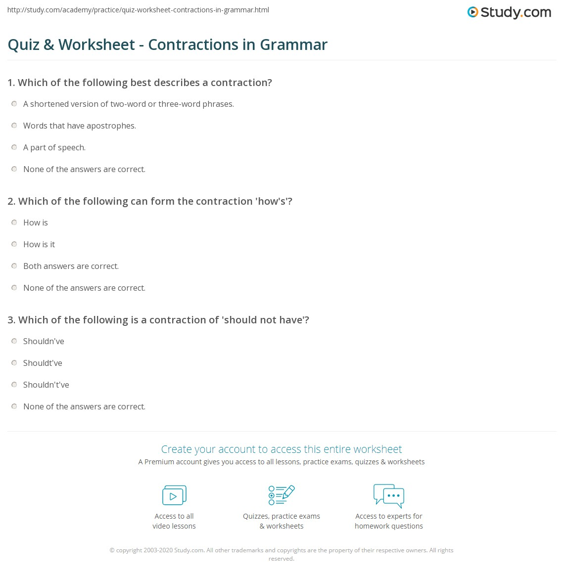 Quiz & Worksheet Contractions in Grammar