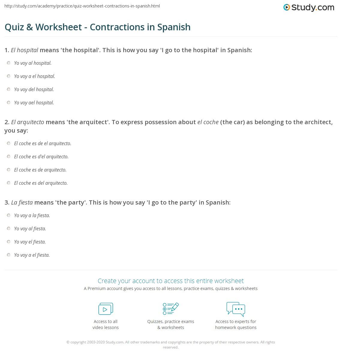 Worksheets Contraction Worksheets quiz worksheet contractions in spanish study com print worksheet