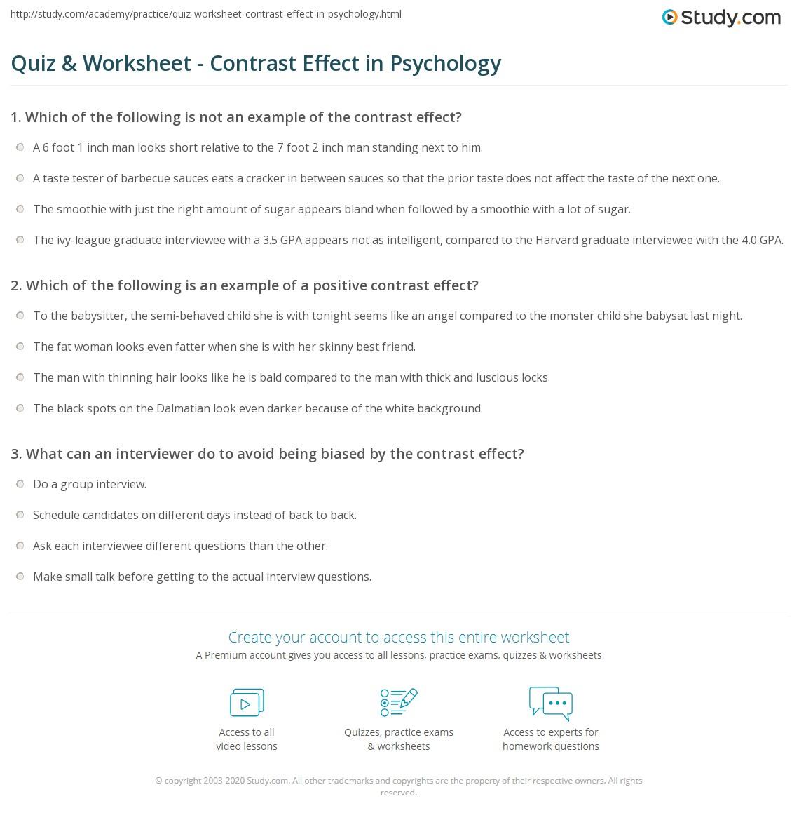 quiz worksheet contrast effect in psychology. Black Bedroom Furniture Sets. Home Design Ideas