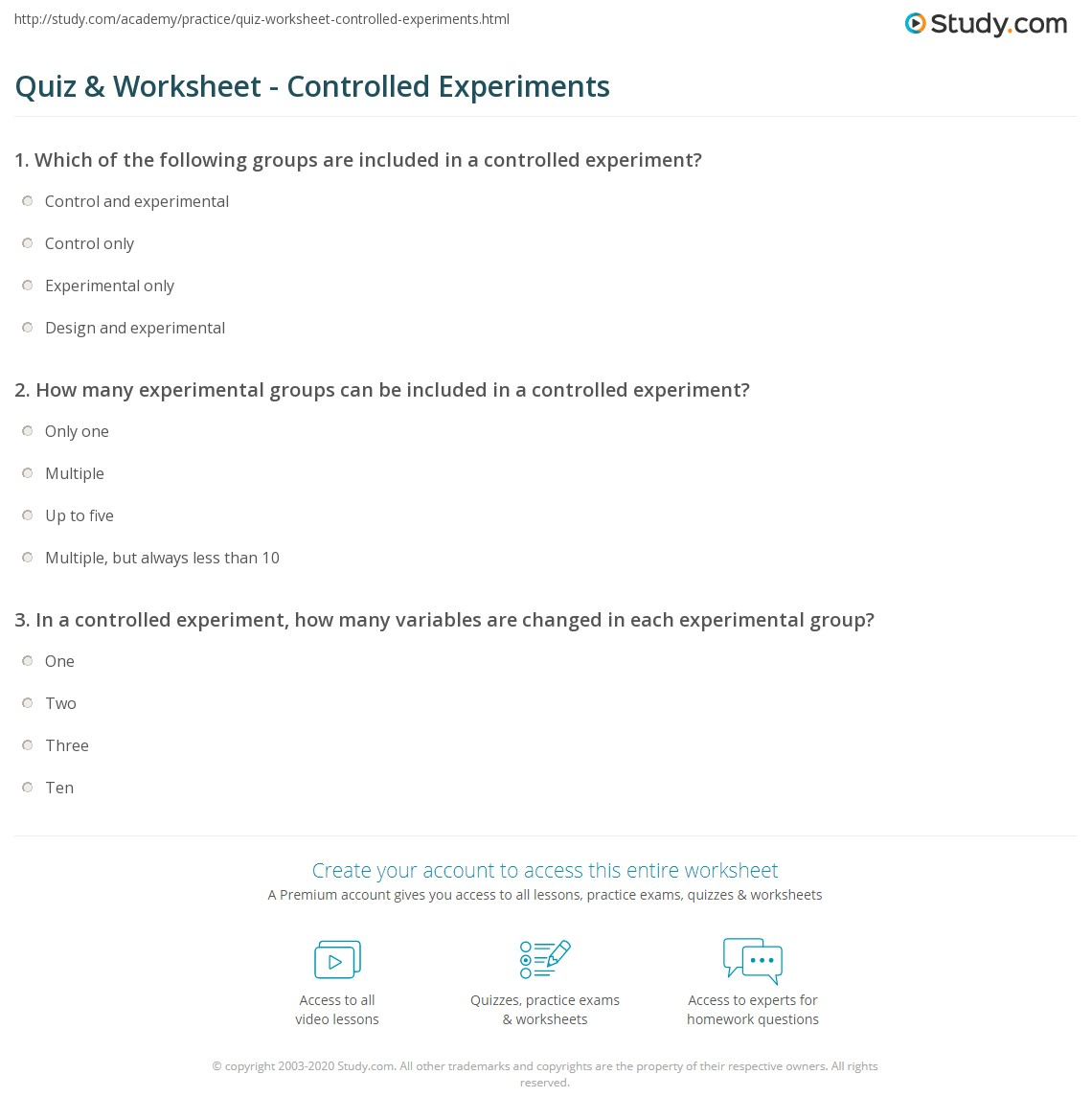 {Quiz Worksheet Controlled Experiments – Controlled Experiment Worksheet