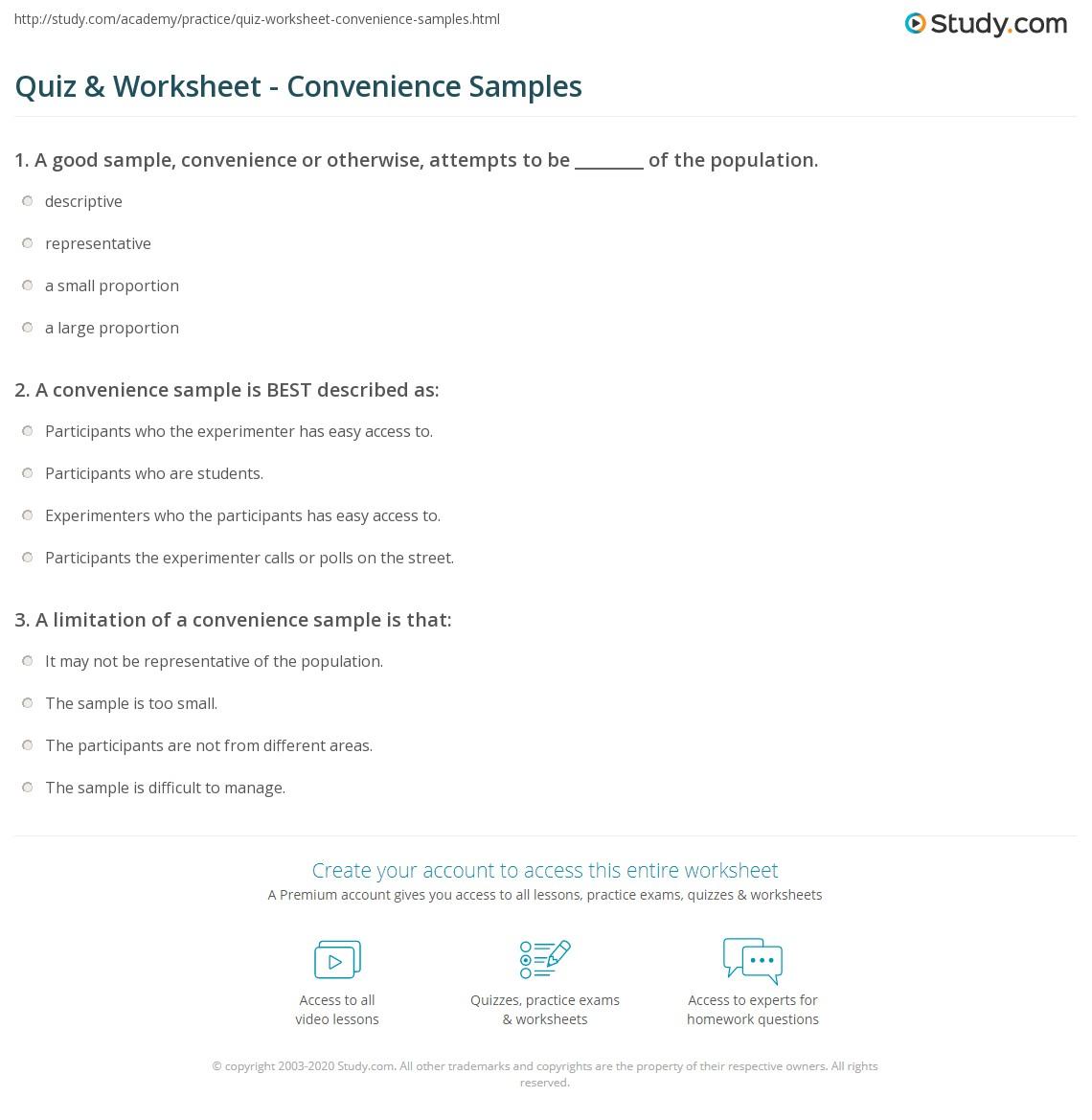 Quiz & Worksheet - Convenience Samples | Study.com