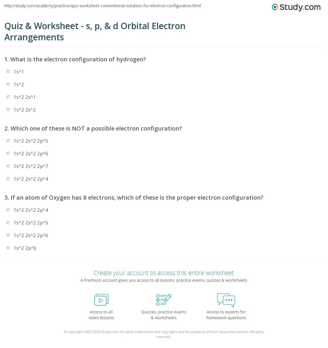 Quiz Worksheet S P D Orbital Electron Arrangements