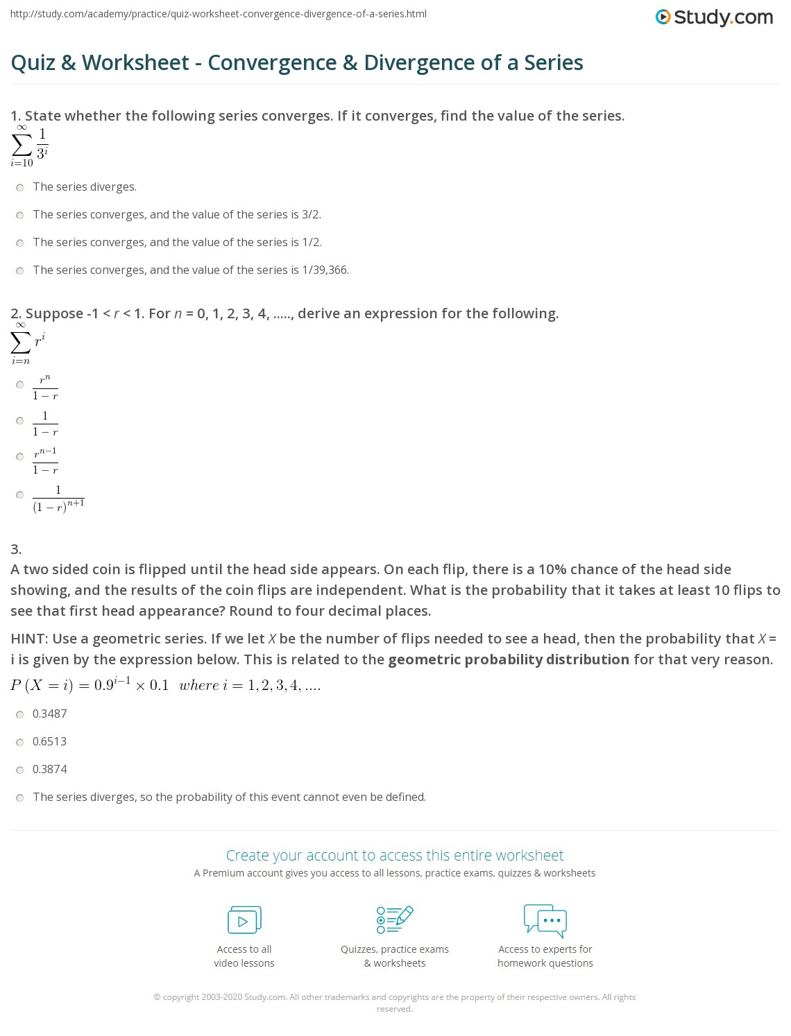 Quiz & Worksheet - Convergence & Divergence of a Series