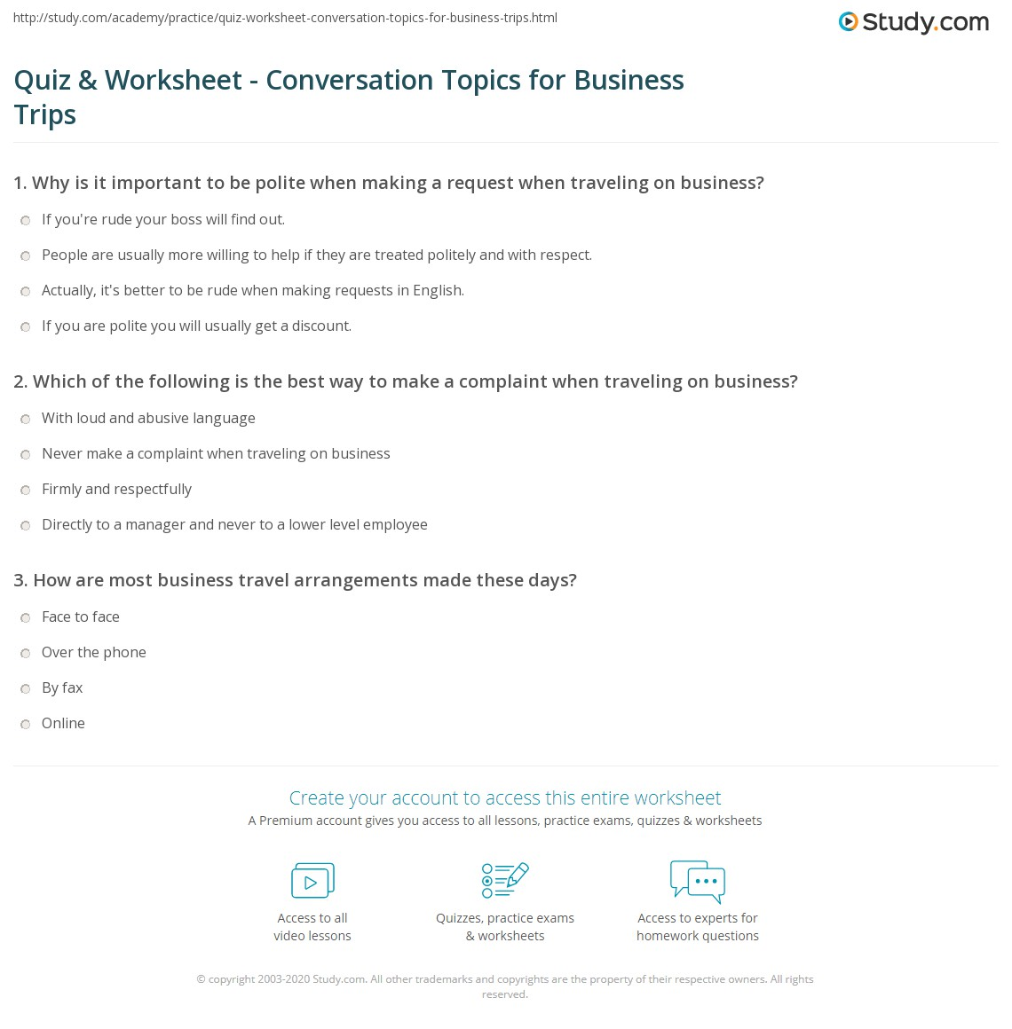 Business Travel Worksheet : Quiz worksheet conversation topics for business trips