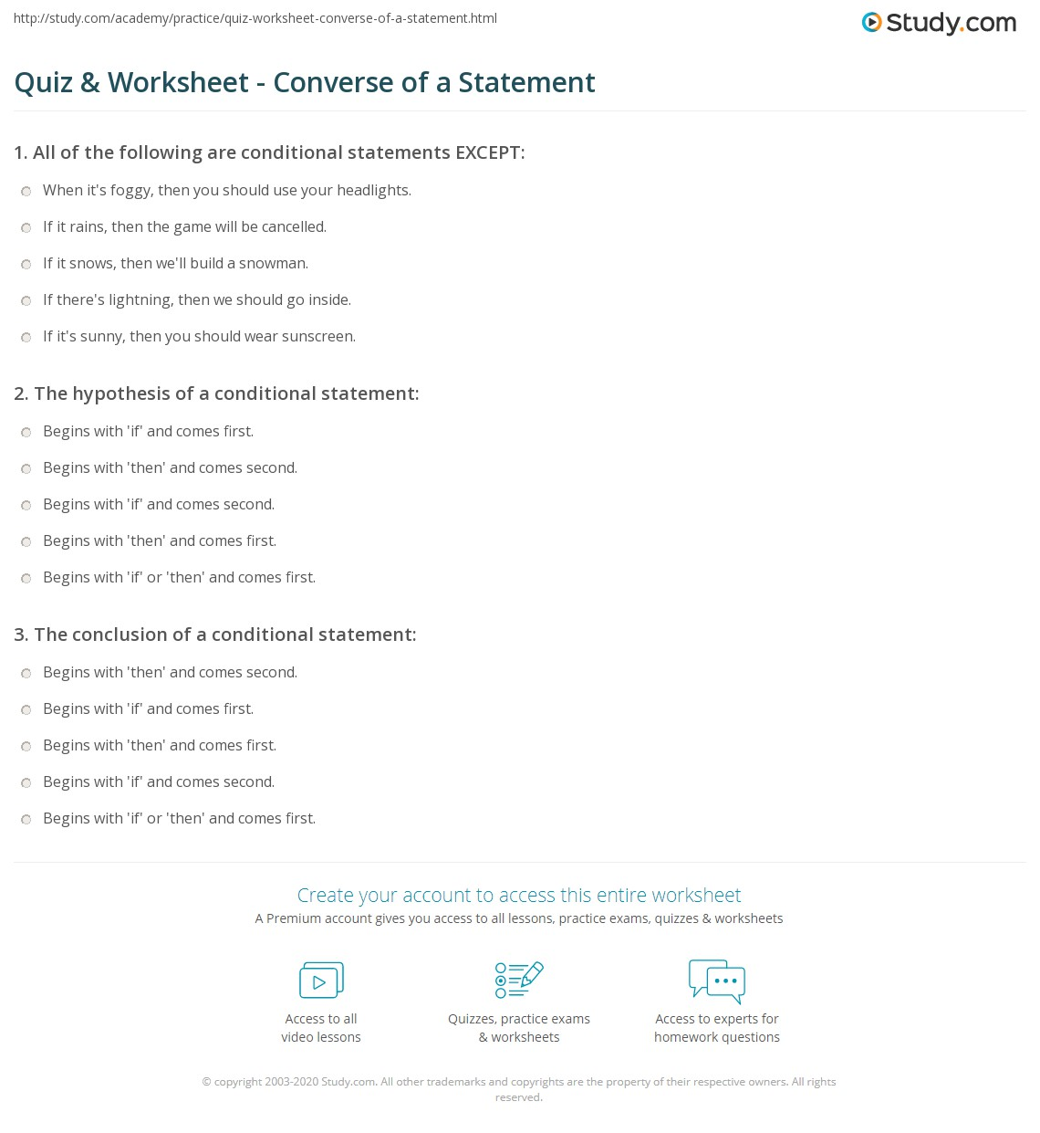 quiz & worksheet - converse of a statement | study