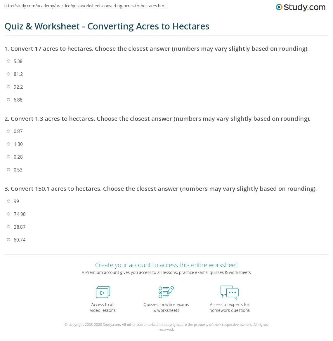 Print Converting Acres To Hectares How Steps Worksheet
