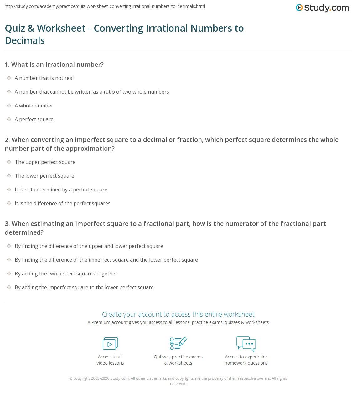 Quiz & Worksheet - Converting Irrational Numbers to Decimals   Study.com