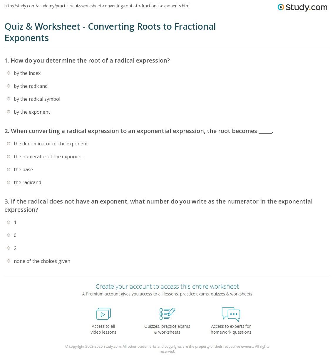 Worksheets Fractional Exponents Worksheet quiz worksheet converting roots to fractional exponents study com print how convert worksheet