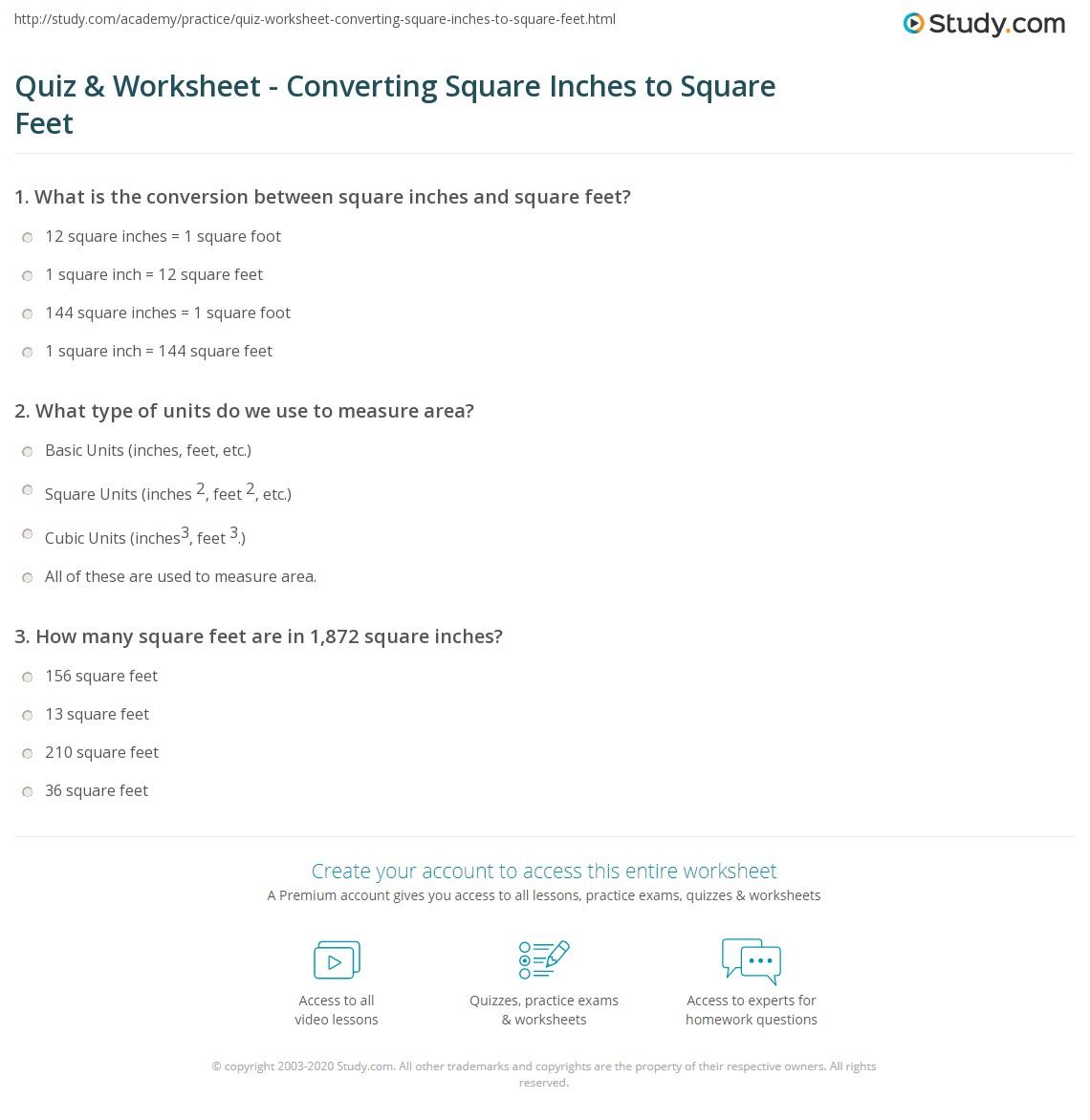 quiz worksheet converting square inches to square feet. Black Bedroom Furniture Sets. Home Design Ideas