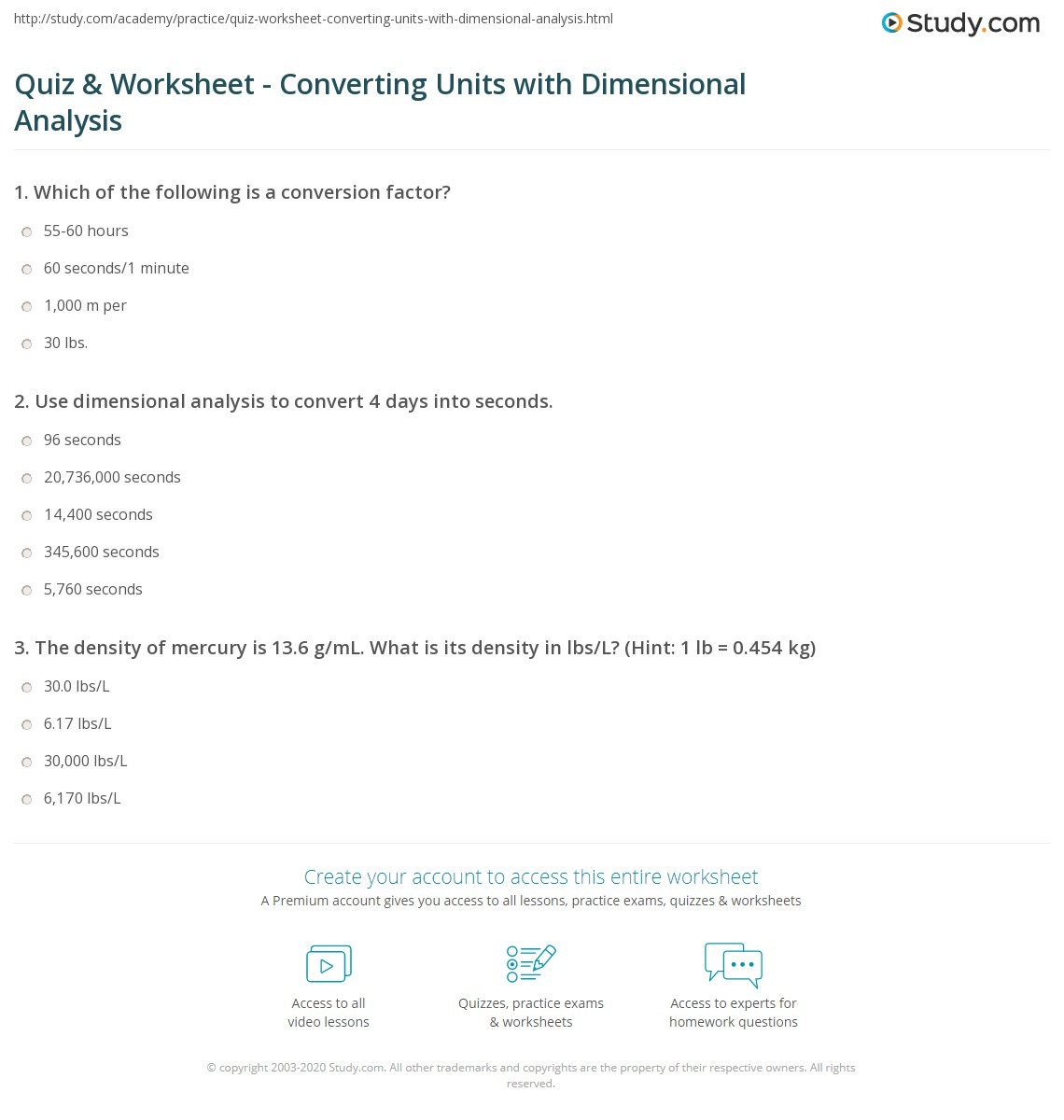 Quiz & Worksheet Converting Units with Dimensional Analysis