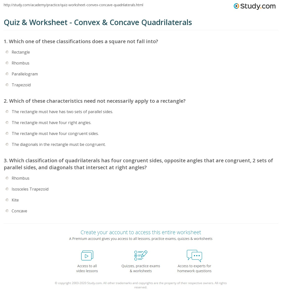 worksheet Quadrilateral Properties Worksheet quiz worksheet convex concave quadrilaterals study com print definition properties examples worksheet
