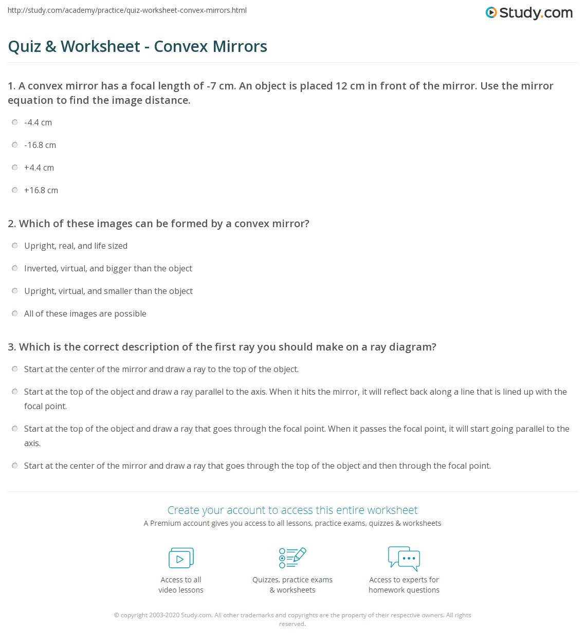 quiz & worksheet - convex mirrors | study