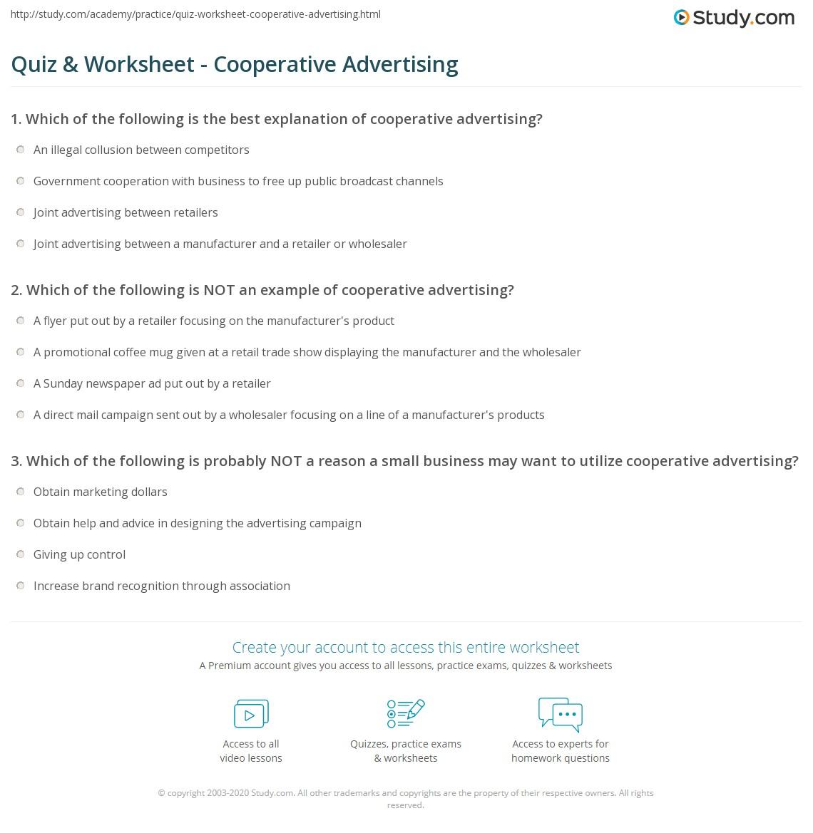 quiz & worksheet - cooperative advertising | study