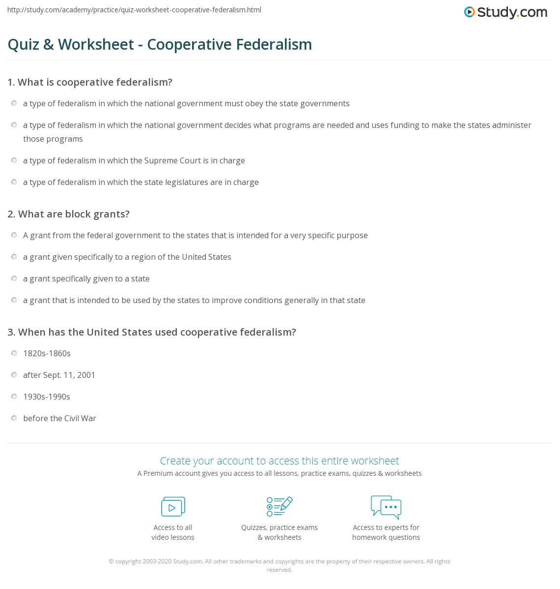 Quiz & Worksheet - Cooperative Federalism | Study.com
