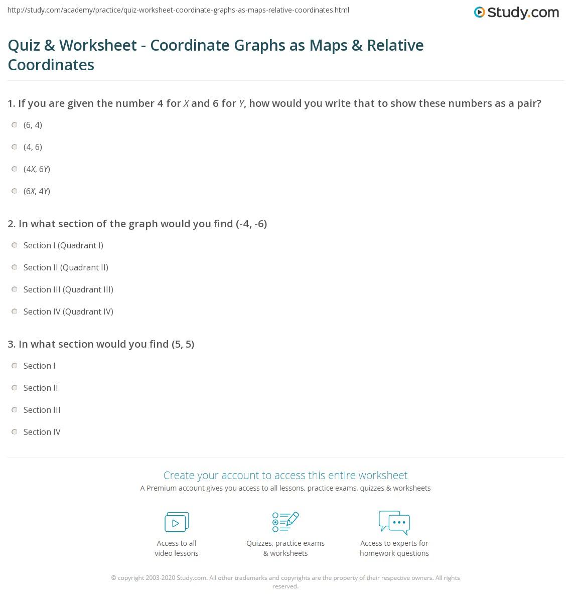 Quiz Worksheet Coordinate Graphs As Maps Relative Coordinates