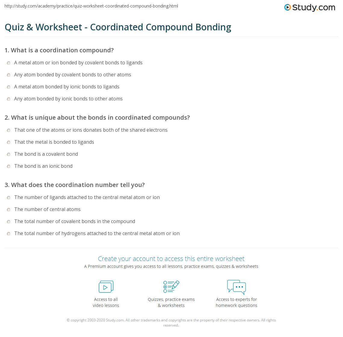 Print Coordination Chemistry: Bonding in Coordinated Compounds Worksheet