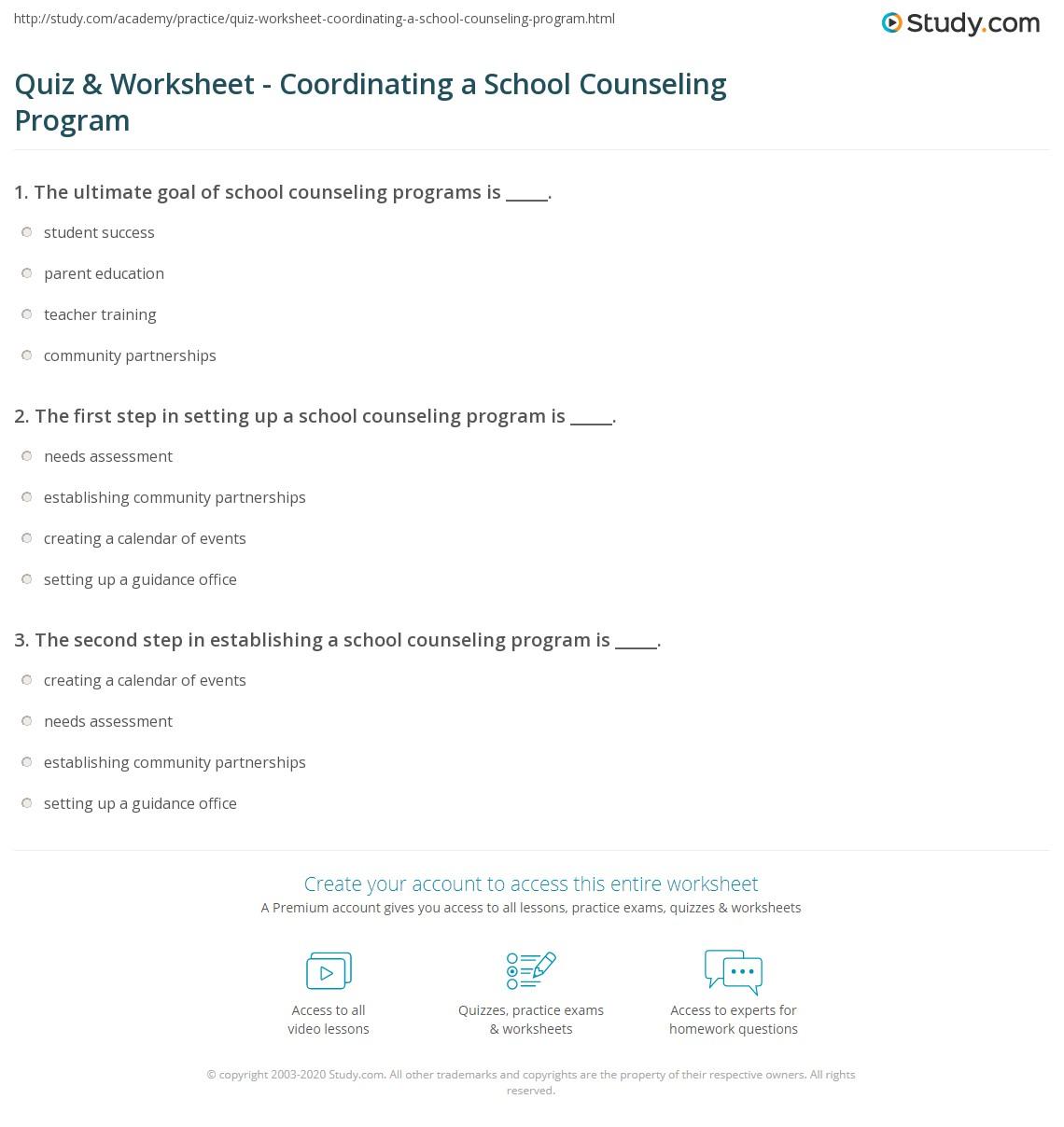 Quiz Worksheet Coordinating A School Counseling Program Study