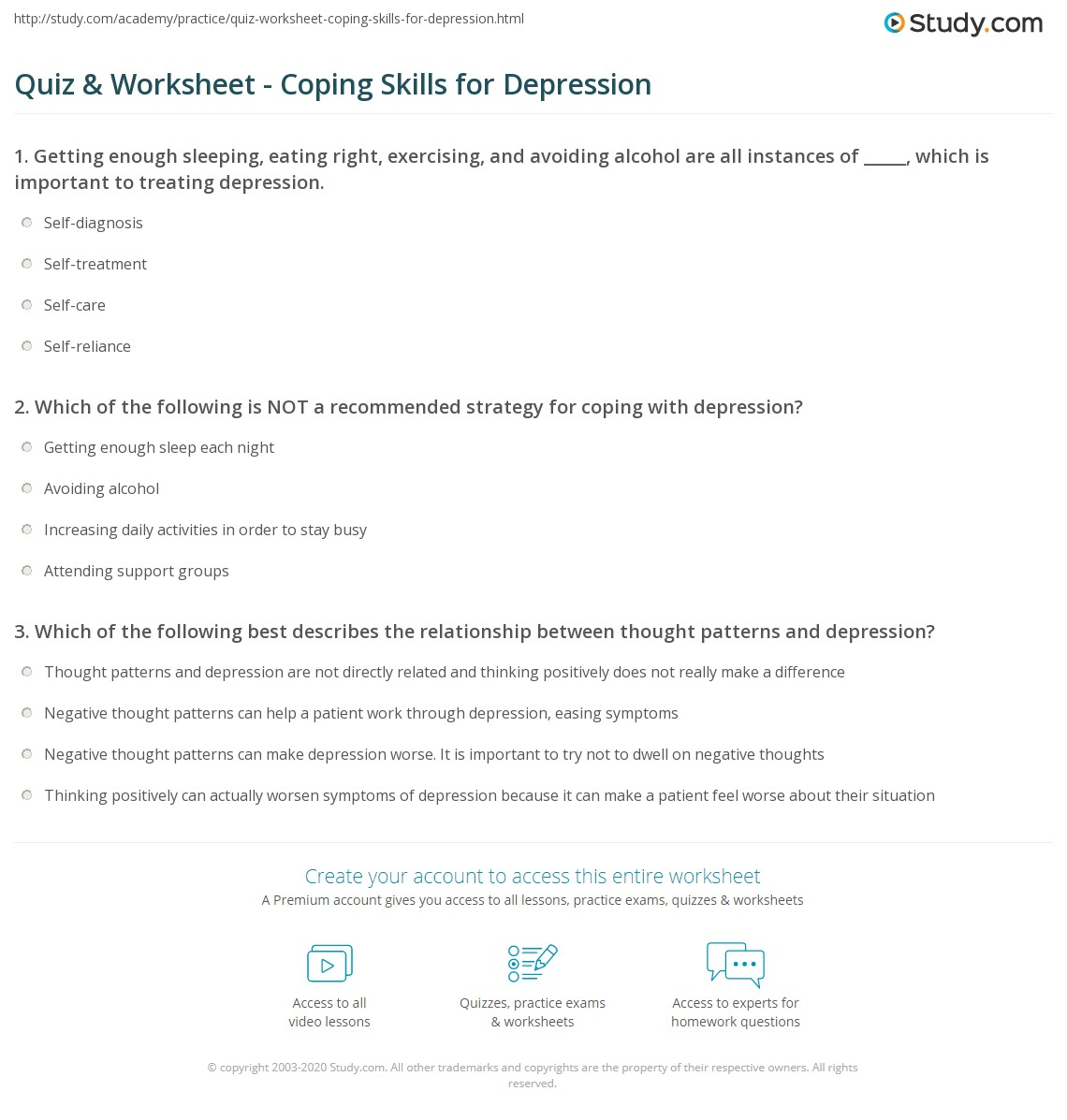 worksheet Coping Skills Worksheets For Adults quiz worksheet coping skills for depression study com print how to deal with worksheet