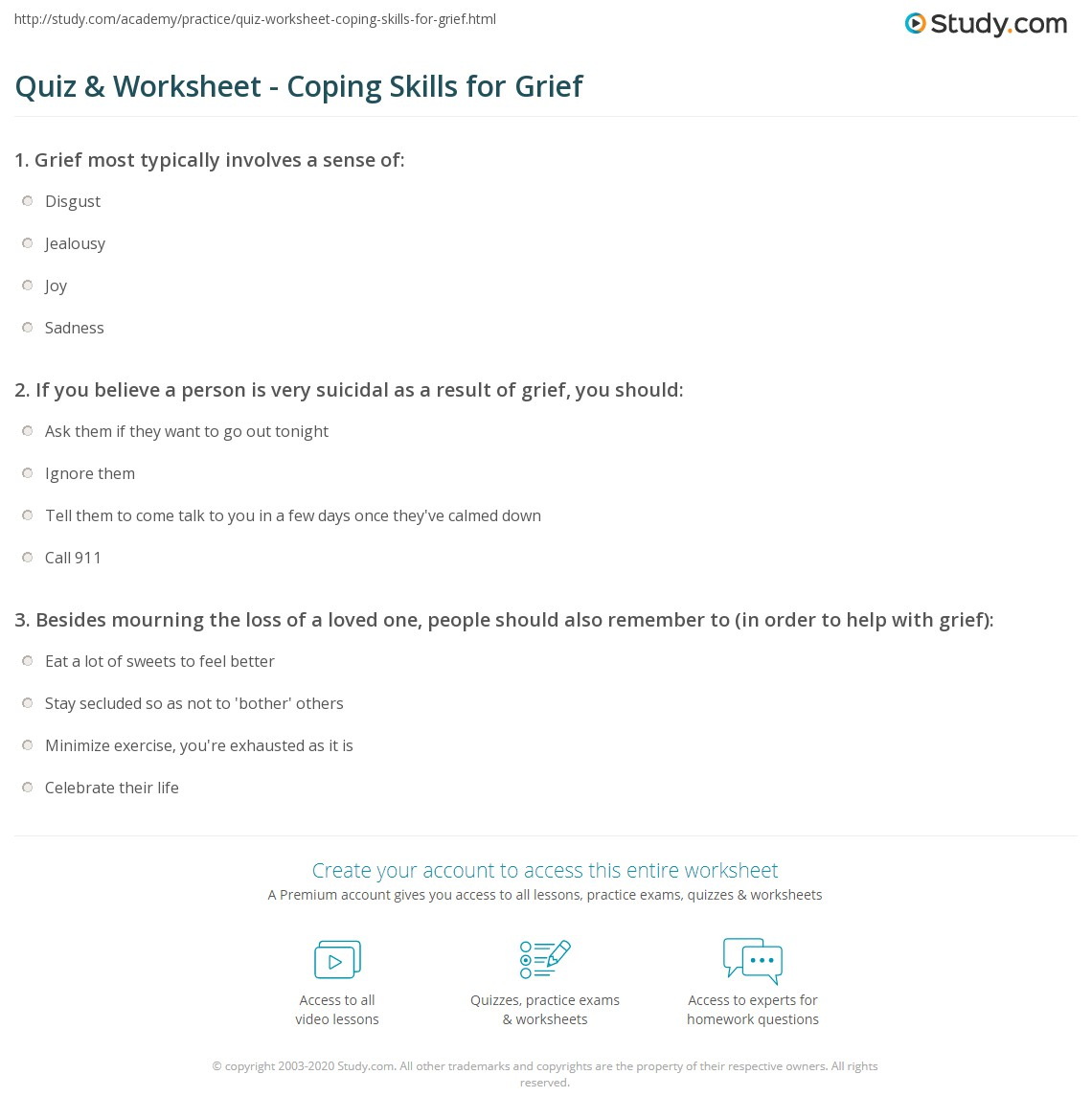 worksheet Grief Worksheets For Adults quiz worksheet coping skills for grief study com print dealing with worksheet
