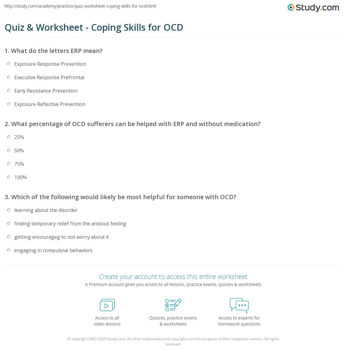 Quiz Worksheet Coping Skills For Ocd Study Com