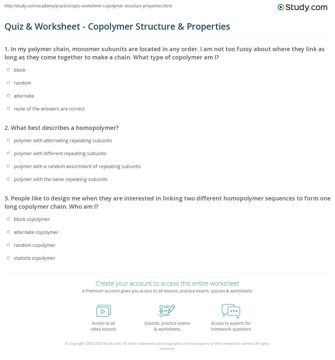 Quiz Worksheet Copolymer Structure Properties Study